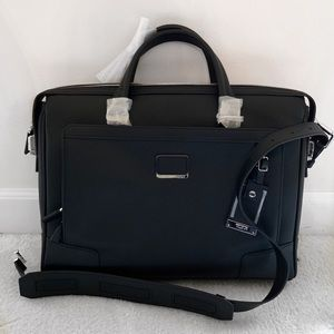 NWT Tumi Regis Slip Zip Top Leather Brief Case